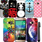 For HTC One Remix One Mini 2 Cute Design PATTERN HARD Case Cover Phone + Pen