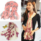New Women Girls Bow Pattern Long Soft Chiffon Scarf Wrap Shawl Scarves SBU