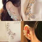 1pc Retro Crystal Butterfly Flower Gold Ear Cuff Stud Earring Wrap Clip On Ear