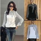 Women Stripe Puff Long Sleeve Tops T-Shirt Blouses Casual Career Neck Hot Sale