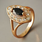Yellow Gold Filled Womens Clear CZ Black Onyx Oval Rings SZ 6-7# D3713-D3714