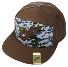 Flat Fitty Digi F Hybrid Adjustable Buckle Back Baseball Cap Hat, Brown / Blue