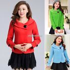 New Elegant Women's Jacket Long Sleeve Short Design Wool Coat Doll Collar Winter