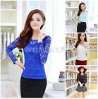 Korean Fashion Lace Shirts long Sleeve Womens Tops Blouses Work T-shirt HUK