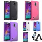 Ultra Thin TPU S Shape Case+Stand Mount Holder+LCD For Samsung Galaxy Note 4 IV