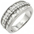 Sterling Silver Baguette Channel Round Clear CZ Wedding Woman's Ring Size 3-11