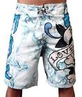 NEW ED HARDY CHRISTIAN AUDIGIER MEN'S BOARD SHORTS SMOKING LOVE WHITE EHM12SL