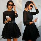 Women's Bandage Bodycon Lace Long Sleeve Evening Party Cocktail Mini Dress DJNG