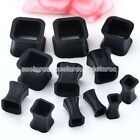 Pick Gauge Black Flexible Silicone Square Ear Tunnel Plugs Expander Stretcher