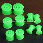 Pick Gauge Green Flexible Silicone Spiral Ear Tunnel Plugs Expander Stretcher