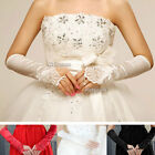 New Satin Lace Wedding Fingerless Long Party Costume Bride Gloves Bridal Dress