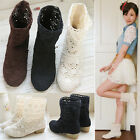 P99 Summer Lady's Knitting Knitted Flat Ankle Casual Sandals Boots Shoes Beige