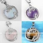 Natural Gemstone Dragon Wrap Half Ball Bead Pendant Charm For Chain Necklace DIY