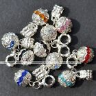 5x Crystal Dangle Ball Loose European Spacer Beads Fit Charms Snake Bracelet DIY