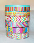 2M REEL CHIC RIBBON MULTI COLOURED STRIPE/ZIGZAG PATTERN# CRAFT/CAKE DECORATING