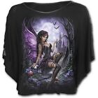 Spiral Direct Enchanted Fairy Forest Black Boat Neck Laced Rivet Poncho Top