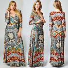 BOHEMIAN Multi MAXI DRESS Jersey Wrap MOSAIC X-Long Skirt BOHO S M L 1X 2X 3X