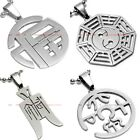 BPEM0237 STAINLESS STEEL CHINESE MONEY TRIGRAM GOOD FORTUNE PENDANT NECKLACE