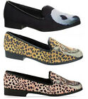 WOMENS YRU LOWF ANIMAL CANVAS CASUAL LOAFER FLATS PUMPS SHOES SIZE UK 3 - 8 NEW