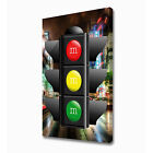 LARGE CITY 2 TRAFFIC LIGHT CANVAS PRINT EZ1016