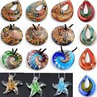 Lampwork Glass Flower Waterdrop Pendant Bead Fit Necklace SP Jewellery 9 Styles