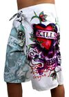 NEW NWT ED HARDY CHRISTIAN AUDIGIER MEN'S GRAPHIC BOARD SHORTS TRUNKS LOVE KILLS