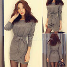Sexy Womens Knit Jumper Pullover Sweater Bodycon Mini Dress Tunic Flage Skirt
