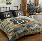 Route 66 Quilt Duvet Cover Bed Set Distressed Vintage Reversible USA PHOTO PRINT