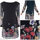 NEW MARK HAYES AVA PLUS SIZE DRESS SHIFT TUNIC BLACK FLORAL MARISOTA SZ 16 - 32