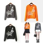 New Ladies Womens Casual Long Sleeve Flower Sweatshirt Jumper Top Pullover S,M,L