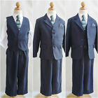 LTO Navy blue pinstripe/white shirt wedding party toddler youth boy formal suit