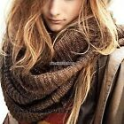 Men Women Winter Warm Infinity 2 Circle Cable Knit Cowl Neck Long Scarf Shawl NB