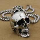 Huge & Heavy 316L Stainless Steel Skull Mens Biker Pendant AJ01A