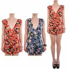 Hidden Fashion Womens Ladies South California Floral Print Plunged Playsuit