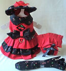 Fantastic Designer Dog Harness Dress, Hat, Leash, Panty BLACK CHERRY- XS-L