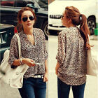 New Womens Sexy Leopard Long Sleeve V Neck Chiffon Shirt Down Blouse Tops M L XL