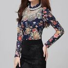 Womens Lace Turtle Neck Long Sleeve Sequin Floral Tops Beading Blouse Pullover