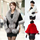 Appealing Winter Ladies Leather Grass Fake Fox Fur ShawlCloak Cape Leisure Coat