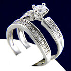 New 0.79 CT Solitaire CZ Women's Engagement Wedding Bridal Band Ring Set