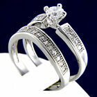 New Womans 0.79 CT Solitaire CZ Womens Engagement Wedding Bridal Band Ring Set