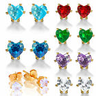 WOMEN BRITHSTONE CUBIC ZIRCONIA 18K GOLD PLATED HEART CUT STUD EARRINGS 4MM/7MM