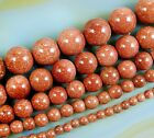 "Natural Gold Sand Gemstone Round Beads 15"" 4mm 6mm 8mm 10mm 12mm"