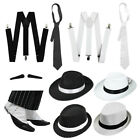GANGSTER SET FANCY DRESS COSTUME ACCESSORY HAT TRILBY FEDORA 1920'S BRACES SPATS
