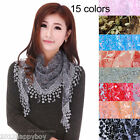 Ladys Lace Tassel Wrap Burnt-Out Floral Triangle Mantilla Scarf Shawl