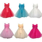 Flower Bow Girls Princess Pageant Wedding Bridesmaid Party Communion Tulle Dress