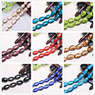10pcs 25mm Oval Glass Charms Jewelry Findings Stripe Lampwork Loose Spacer Beads