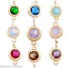 2PCs New Gold Plated Charm Connectors Round Resin Rhinestone Jewelry Findings
