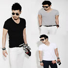 Fashion Men Slim Fit Cotton V-Neck Short Sleeve Casual T-Shirt Tops hot Stylish