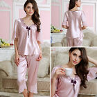 Women Silk Satin Pajamas Pyjama Sleepwear Set Nightgown Loungewear Top Pant Suit