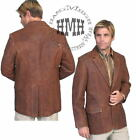 L501-60-ds Scully Western Cowboy Leather Brown Dress Sport Coat Jacket Blazer